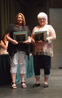 Fifteen-year award winners, from left: Sheila Scheib, Denice Paden.