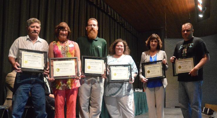 10 year award-winners, from left: Steve Armstrong, Celeste Donovan, Brad Kearn, Alaina Rice, Kim Zant, Wade Lyon.
