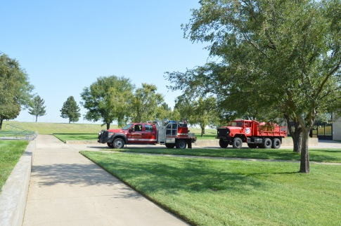 Fire trucks lunch stop