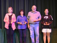 SCCC employees honored for 10 years of service receive awards on May 14. Pictured left to right, are Janice Northerns, Blanca Guiterrez, Gary Damron, and Abby Bolton. Not pictured: Roy Allen, Ilse Cambron, Travess Funk, Liz Hill, and Brandie McIntire.