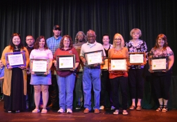 SCCC honored employees who have reached the five-year mark at our Service Awards May 14. Pictured, left to right, back, are Kelly Malwitz, Cody Pickering, Myron Perry, Kate Mulligan, Mary Beth Matkin, front, Nina Highfill, Heather Hannah, Kammie Francis, Hiran Gunasekara, Annie Brown, and Susan Ingland. Not pictured: Bill Asmussen.